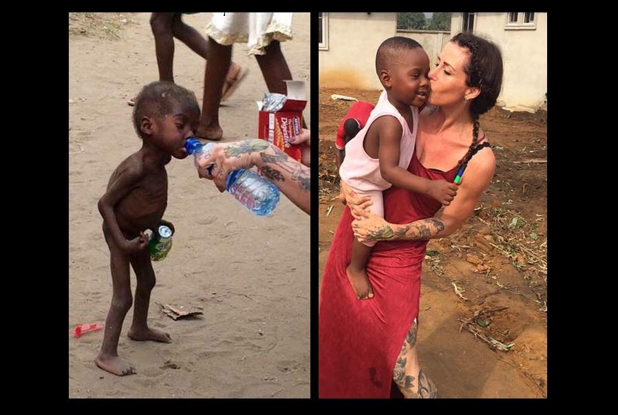 Criança resgatada na Nigéria. E a incrível transformação um ano depois.