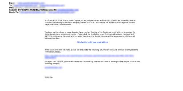 Screenshot of domain verification email