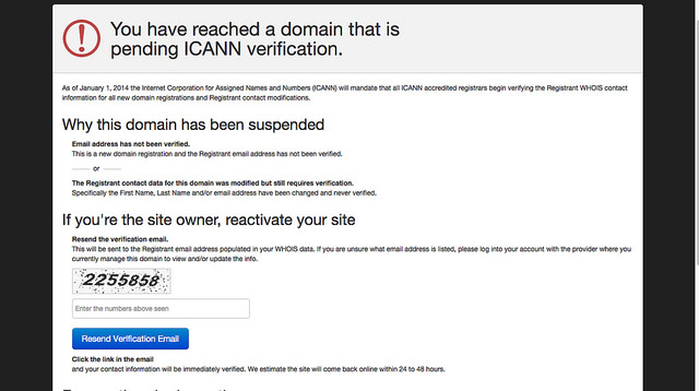 screenshot of ICANN domain suspension warning