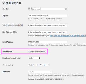 Enabling User Registration under Settings