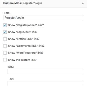 Custom Meta Widget area settings