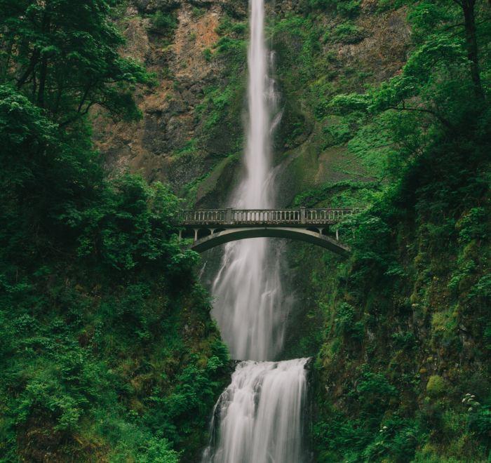 Bridge over a waterfall