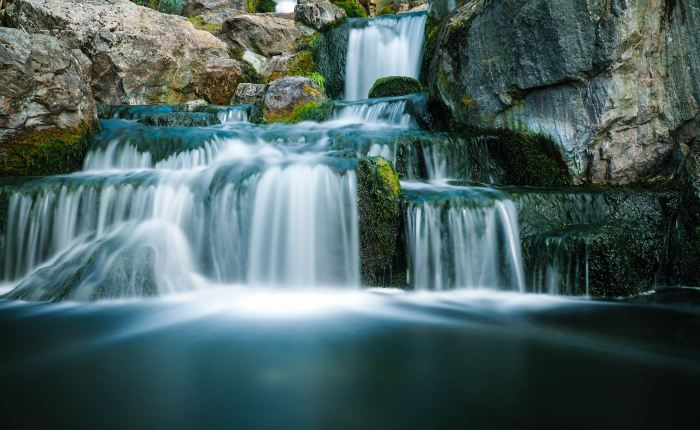 Long exposure shot of a waterfall in the 'Kyoto Garden' in Holland Park.
