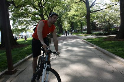 Making moves by biking around campus. (submitted by Casey Davies)