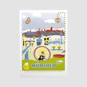 München, Postkarte, Senior Burns, Wahrzeichen,