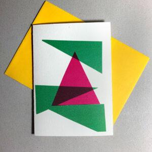 Klappkarte magentafarbener Baum, grafisch, mit grün, gelber Umschlag