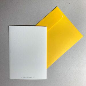 Klappkarte grafischer Baum, Rückseite, gelbes Kuvert,