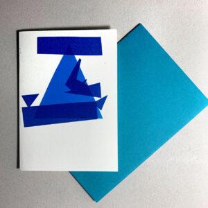 Klappkarte grafischer Baum, Blautöne, geometrische Formen, Kuvert in Blau