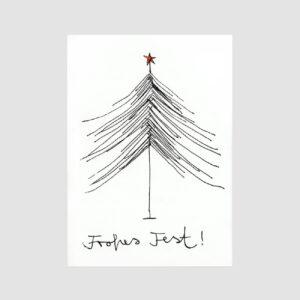Postkarte, Frohes Fest, Weihnachstbaumzeichnung, Senor Burns, Neon,