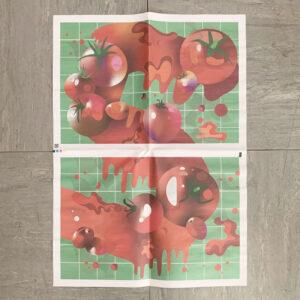 Geschenkpapier, fünf, Tomaten, Blatt, Zeitungspapier,