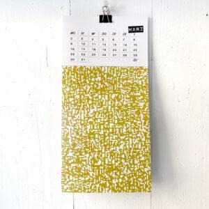März, Pixelmuster, Kalenderblatt, Umwerk, Klappkarte,