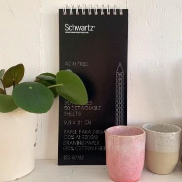SCHWARTZ – Skizzenblock 9,5 x 21 cm