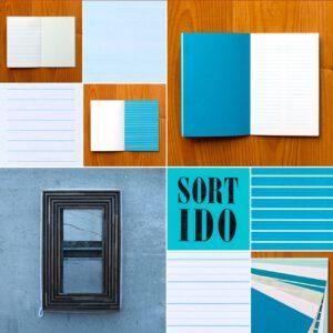 Serrote Notebook, blautönig, gemusterte Seiten, Buchdruck gedruckt,