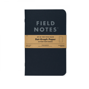 Field Notes, Pitch Black, 2er-Set, Notizbücher, schwarz, silbern,