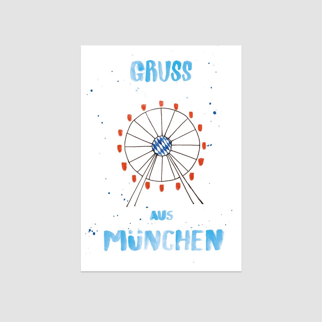 Gruß aus München, illustrierte Postkarte, Riesenrad und handgeschriebener Text in Blau,