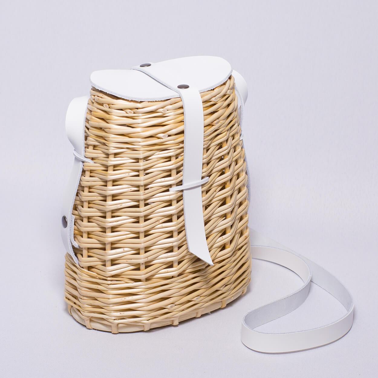 La besace sac à main en osier et cuire de couleur blanc