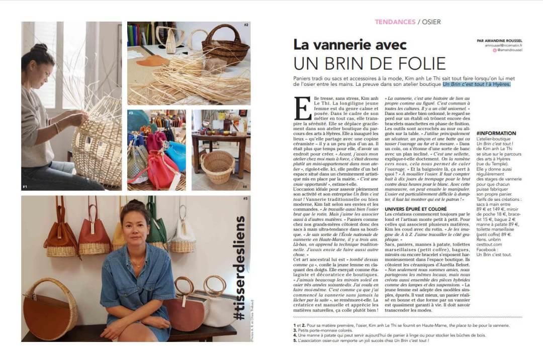 Les articles de Presse Un Brin C'est Tout Atelier de Vannerie Artisanale à Hyères