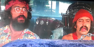 Cheech and Chong stoned in a car
