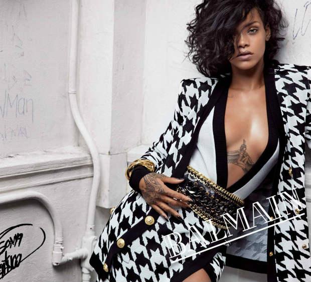 Rihanna_Balmain_TousselledWaves_Curls_ShoulderLength_Bob_Shavensides_BlackHair