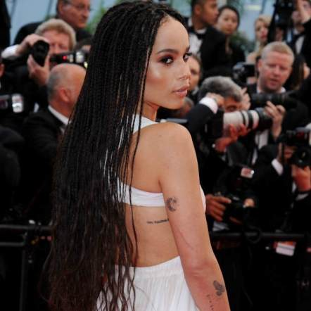 Zoe Kravitz long thin box braids red carpet