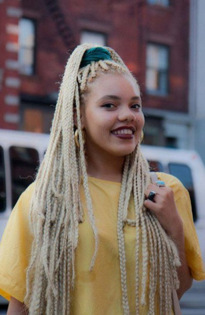 bleach blond box braids