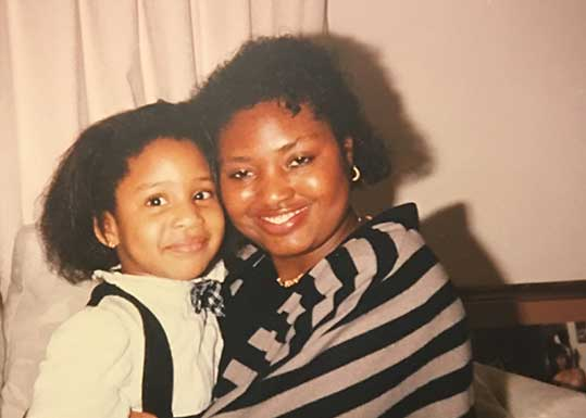 Abigail: Me and my auntie Maureen with her Jheri curl.