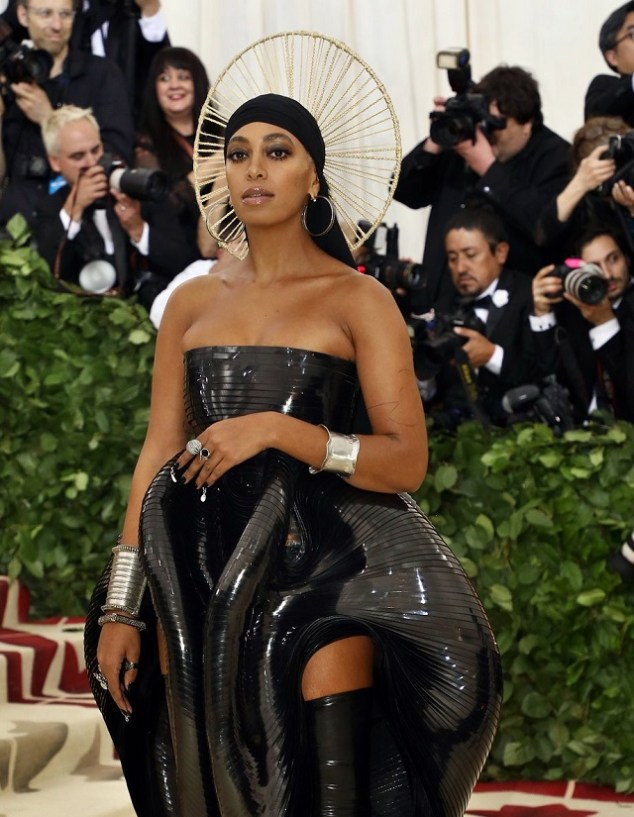 Solange draped her platinum blond locks with a durag and headpiece.