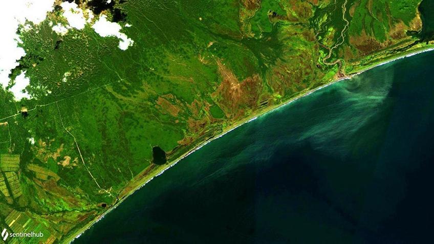 Опубликованы космические фотоснимки пострадавших от загрязнения прибрежных районов Камчатки 4
