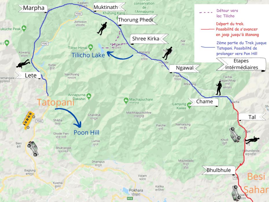 étapes trek Annapurnas