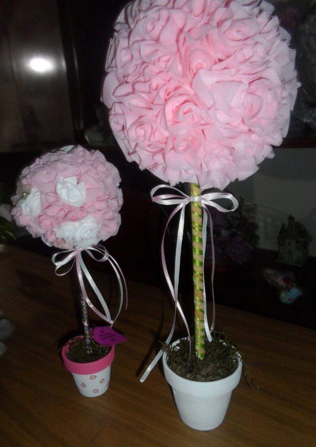 topiario de flores de tela