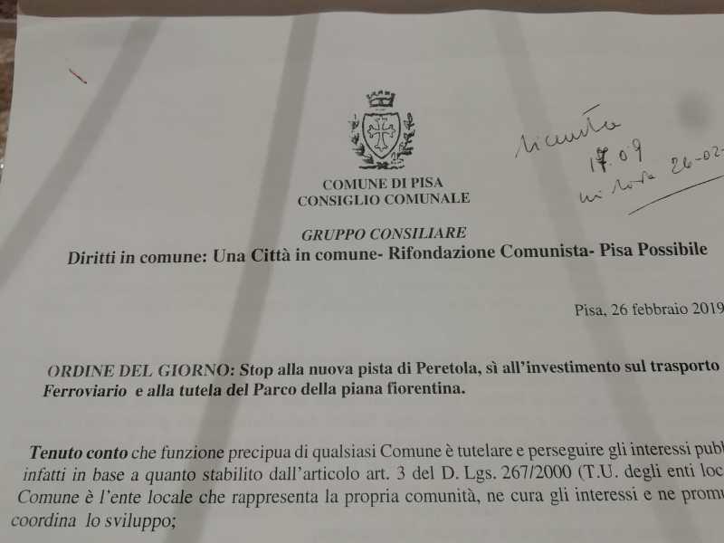 Ordine del giorno: Stop alla nuova pista di Peretola, sì all'investimento sul trasporto ferroviario e alla tutela del Parco della piana fiorentina