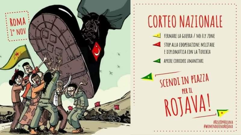 Manifestazione contro l'attacco turco in Siria e pro popolo curdo venerdì 1° novembre a Roma