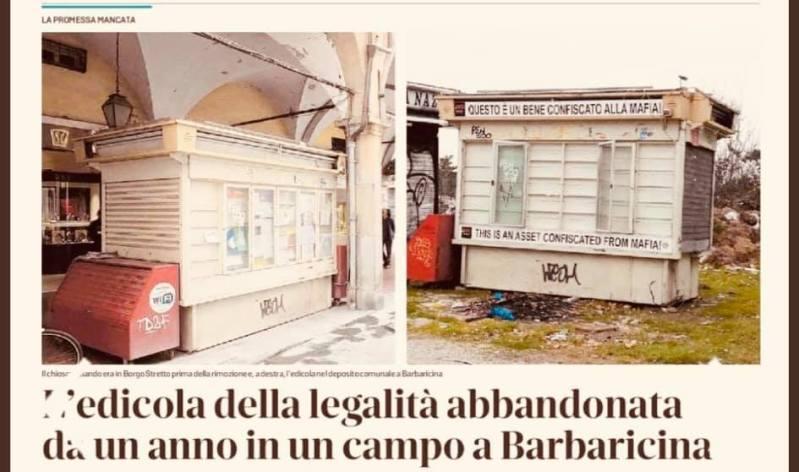 L'edicola della legalità è un bene confiscato alla mafia e va restituita alla città