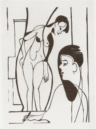 Artist and female model - Ernst Ludwig Kirchner (1933)