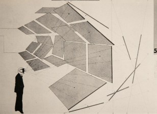 """Herbert Bayer """"Drawing for the architecture photo show in perspective and section"""" 1918-1938 Berlin"""