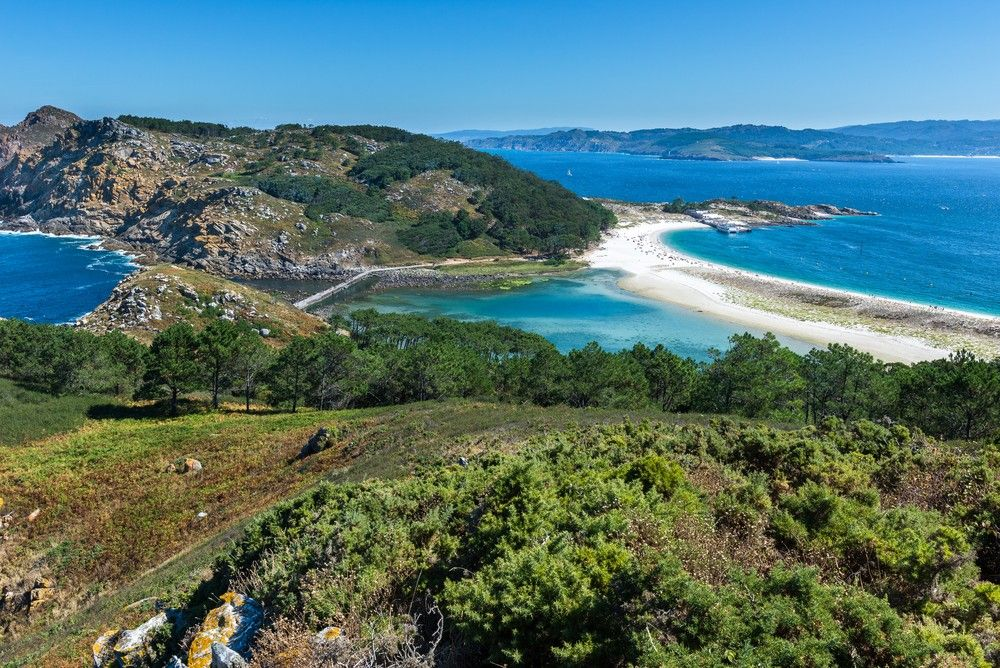Vista de la playa de Rodas en Cíes