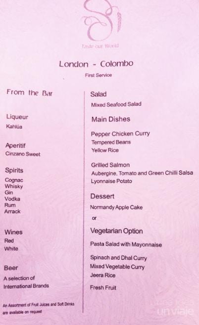 Avión SriLankan Airlines - menú comida