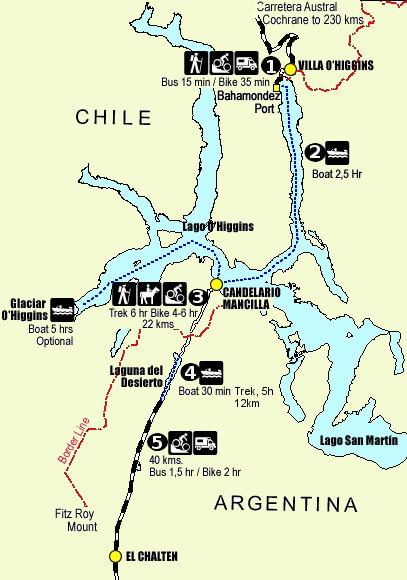 Mapa ruta Chaltén Villa O'Higgins