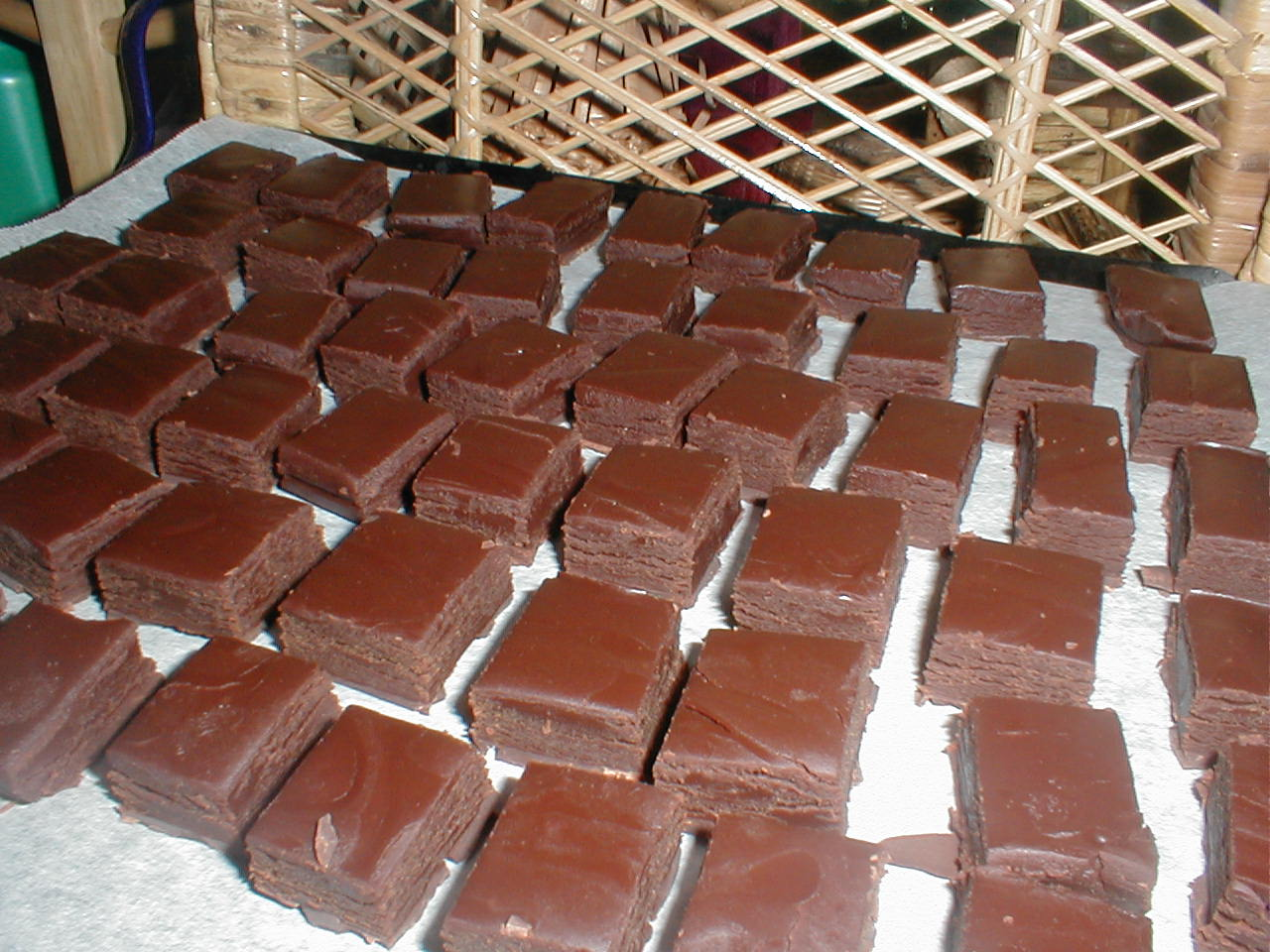 Grand Marnier truffles drying, prior to enrobing and decorating.