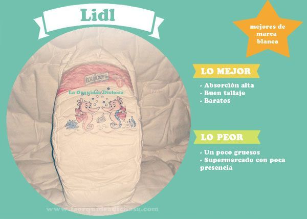 Comparativa mejores pañales: lidl toujours