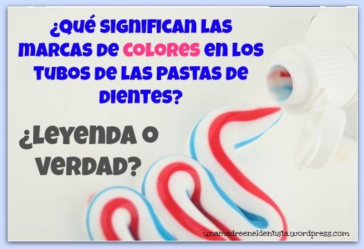 marcas de colores en los tubos de pastas de dientes
