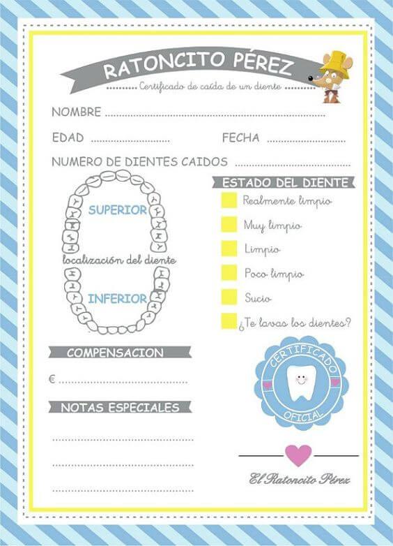 certificados y dientes del ratoncito perez