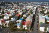 A view of Reykjavik from the steeple of the Hallgrimskirkja church.