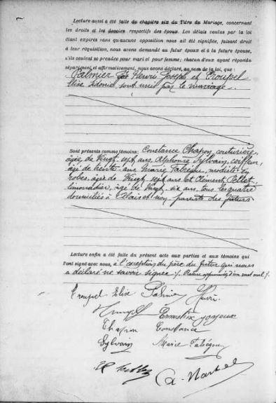 Acte de mariage d'Henri Joseph Palmier et Elisa Sidonie Troupel, AM Alès, - Source : site officiel de la ville d'Alès
