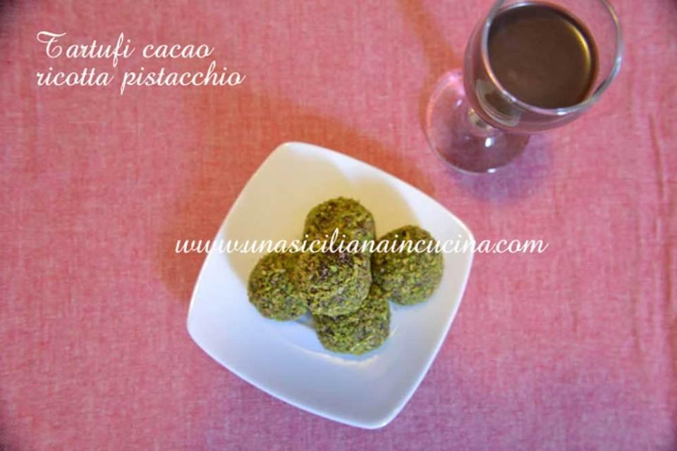 Tartufi cacao ricotta e pistacchio