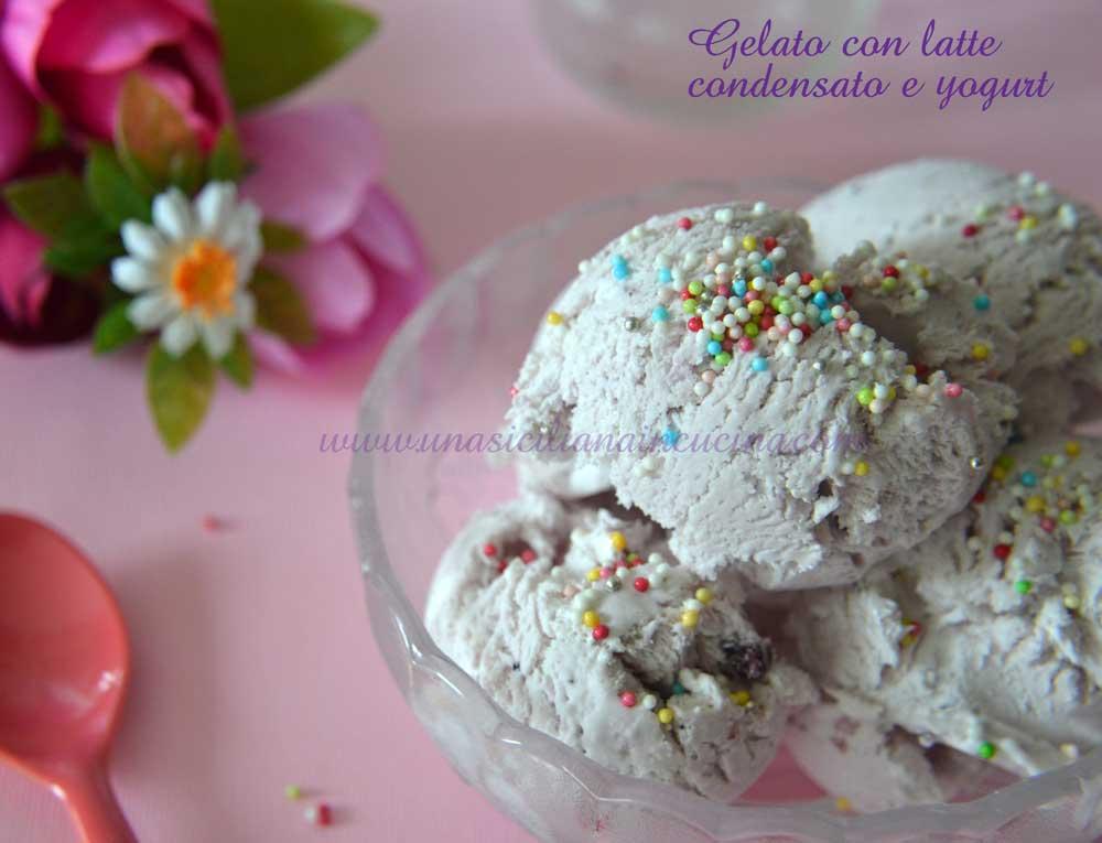Gelato con latte condensato e yogurt