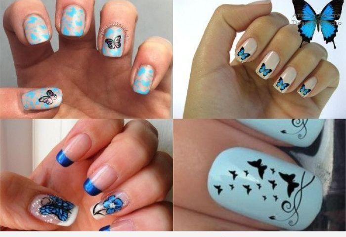 Uñas Decoradas Con Mariposas Cómo Dibujarlas Paso Paso Uñas Pintadas