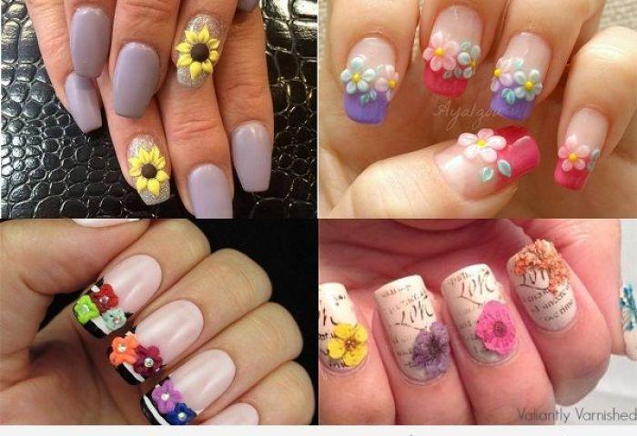 Uñas Decoradas Con Flores En 3d Uñas Pintadas