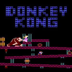 Donkey Kong classic game screen grab. Kong throwing barrels at Mario