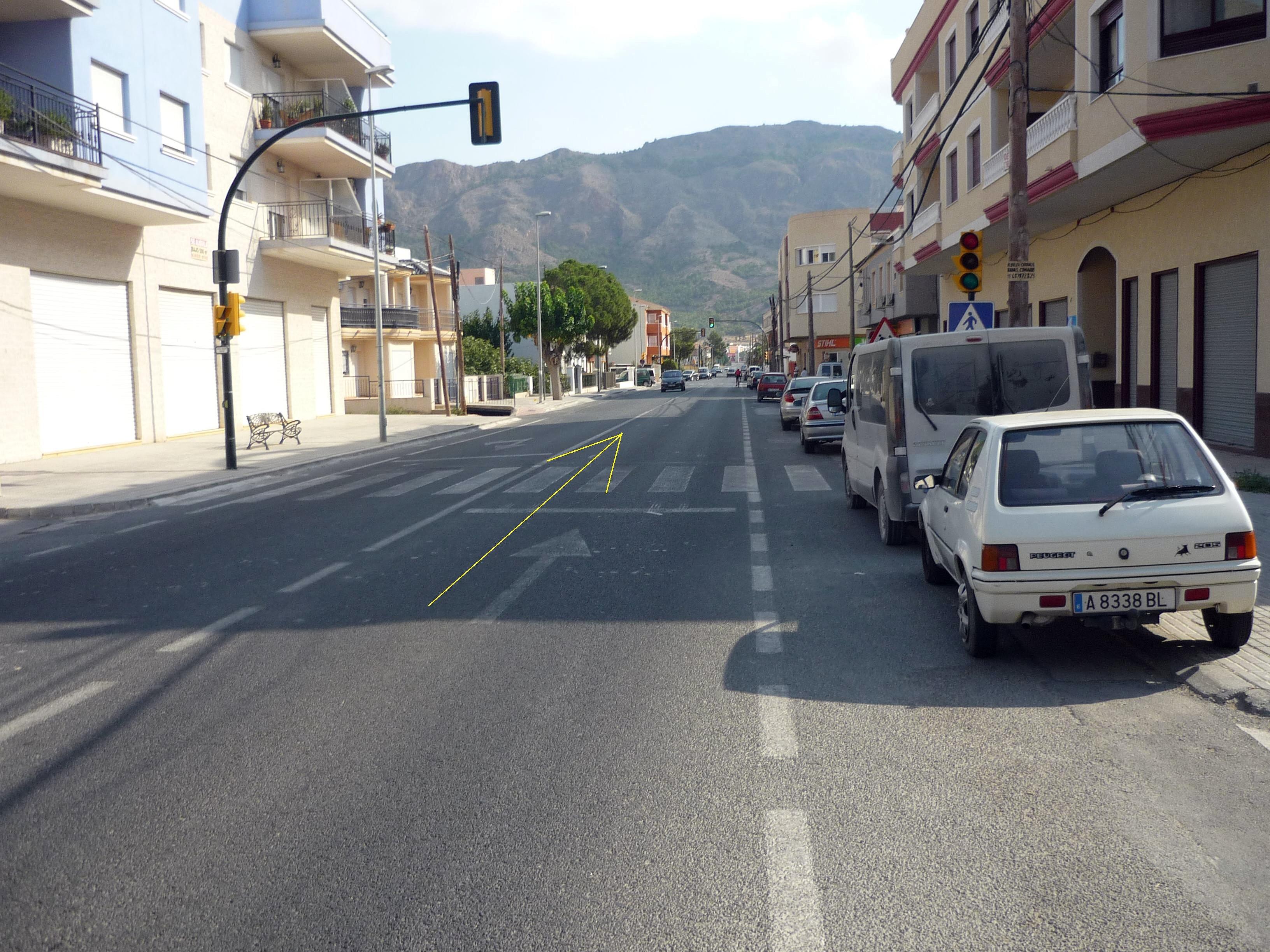 Foto nº6. N-340, travesía de El Raiguero de Bonanza. Kilómetro 11,2.